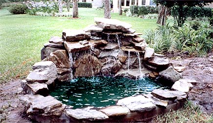 Brick veneer outdoor kitchen for best free home for Koi pond builders mn